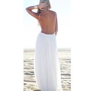 Dresses - White Open Back Crochet Maxi Dress